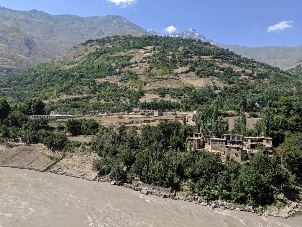 Afghan villages along the Pamir River