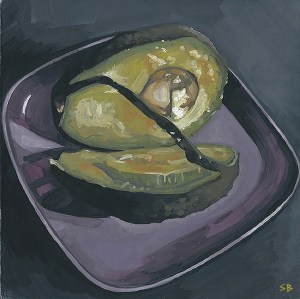 dissection-avocado-fruit-painting-gouache-steve-beadle-art