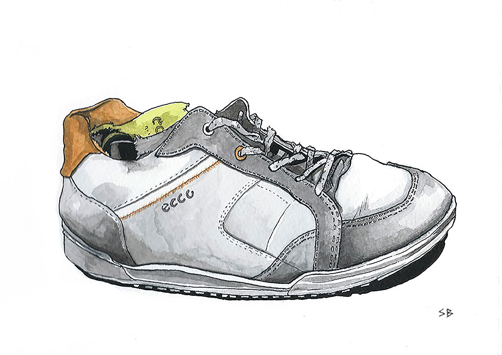 ecco-trainer-shoe-ink-watercolour-sketch-steve-beadle-art