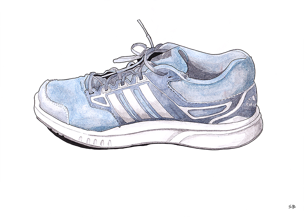 running-shoe-inktober-2017-ink-watercolour-steve-beadle-art