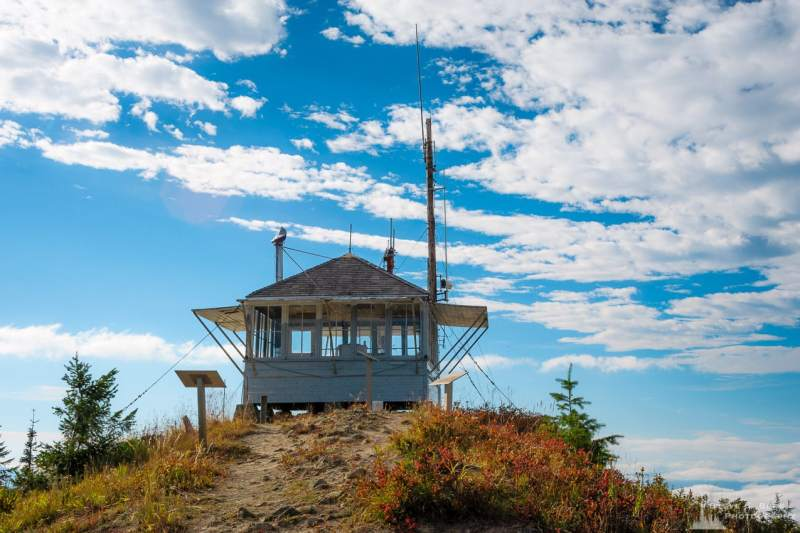 A photograph of the Burley Mountain Lookout in the Gifford Pinchot National Forest, Lewis County, Washington.
