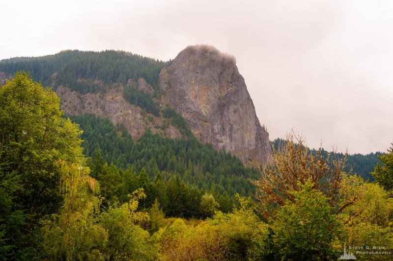 A landscape photograph of the East face of Tower Rock in the Gifford Pinchot National Forest near Cispus Center, Washington.