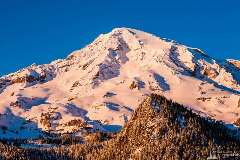 A Pacific Northwest landscape photograph of the sunlight shining on the southern face of Mount Rainier on an early winter evening as captured along the Paradise Road at Mount Rainier National Park, Washington.