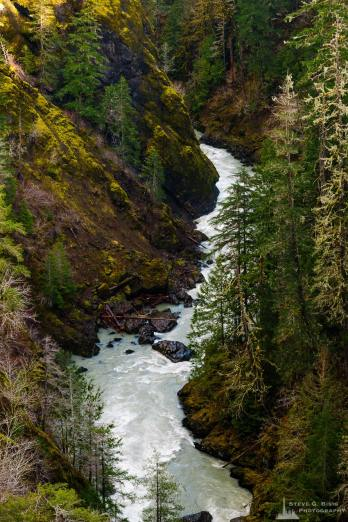 A landscape photograph of the South Fork Skokomish River as viewed downstream from the High Steel Bridge in the Olympic National Forest along FR2340 in rural Mason County, Washington.