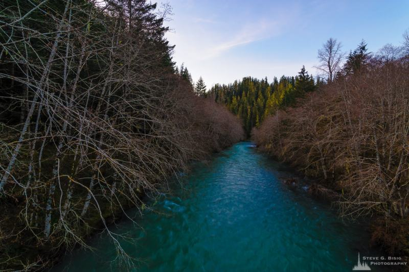 A landscape photograph of the South Fork Skokomish River in the Olympic National Forest along FR2348 in rural Mason County, Washington.