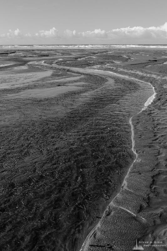 A black and white landscape photograph of a creek flowing into the Pacific Ocean at South Beach in Grays Harbor County near Grayland, Washington.