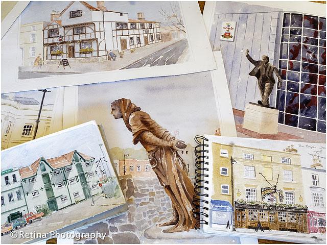 Artists Watercolour Paintings of Southampton Historical Landmarks