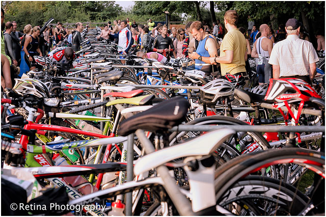 Bucklers Hard New Forest Triathlon 2012 Changeover Area - Wide View of Bikes