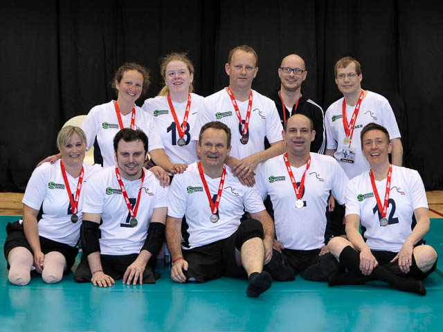 Portsmouth Sitting Volleyball Team Line Up For Team Portrait April 2012