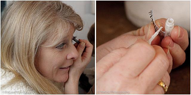 Actress Putting On False Eye Lashes