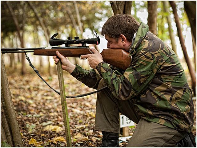 Kneeling Hunter Field Target Shooter