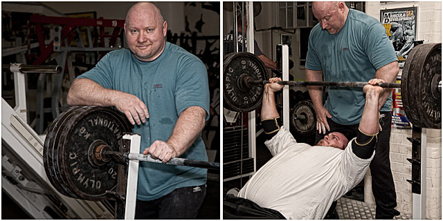Power Lifter Assisting During Training Session