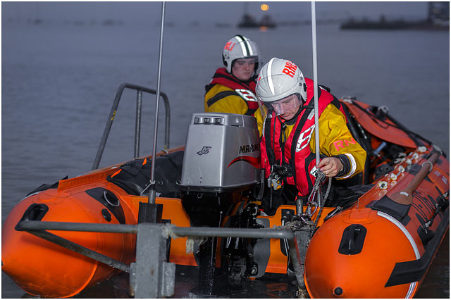 D Class RNLI Inshore Rescue Boat Launching At Night
