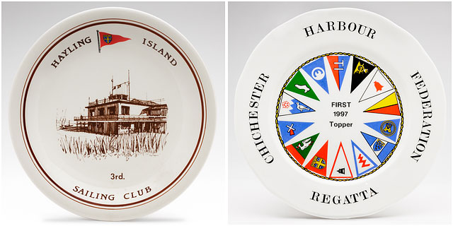 Hayling Island and Chichester Harbour Federation Sailing Club Regatta Winner and Third Place Souvenir China Plates
