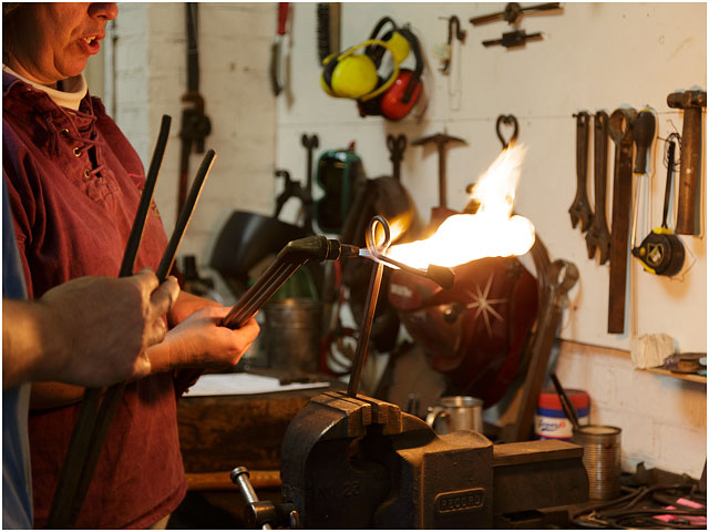 Heating Metal For Bending With Gas Blow Torch