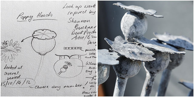 Metal Poppy Heads With Original Pencil On Paper Sketches