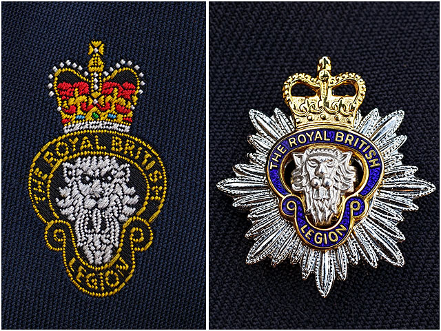 Royal British Legion Metal And Stitched Badges Or Ensignia On Brass Band Uniform