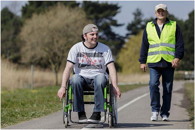 Brendan Williamson walking with son David at the beginning