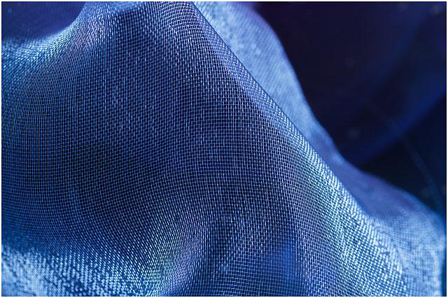 Close Up Of Sheer Blue Organza Fabric