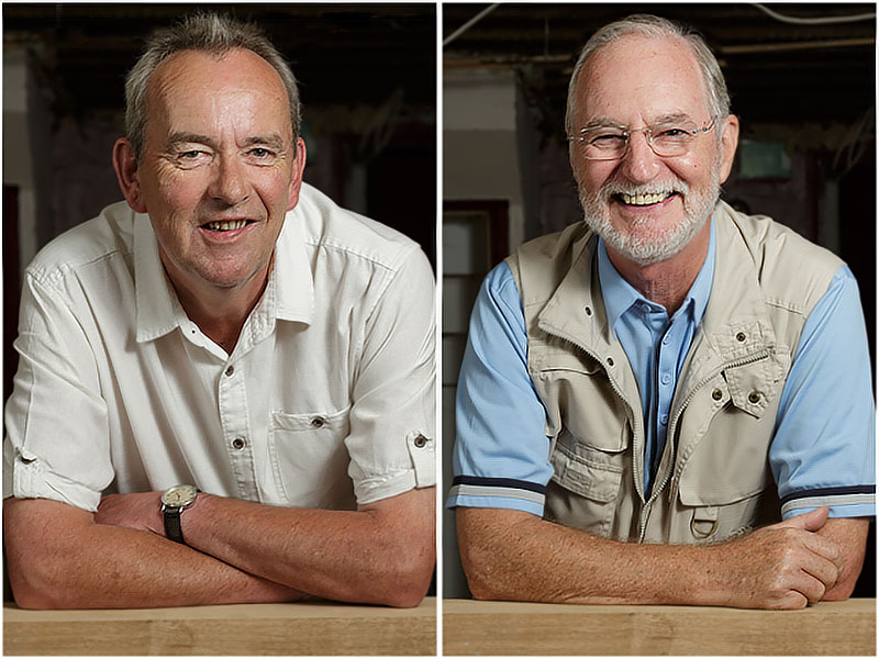 Portraits of Jon Pocock and Nick Jardine Denmead Fox and Hounds Public House Co-operative