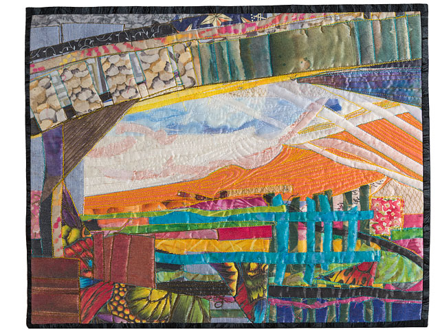 Quilted Brightly Coloured Abstract Textile Picture Called Under The Bridge And Up On The Downs