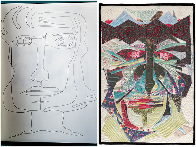 Sketch And Quilted Textile Portrait Called Vivat Rex