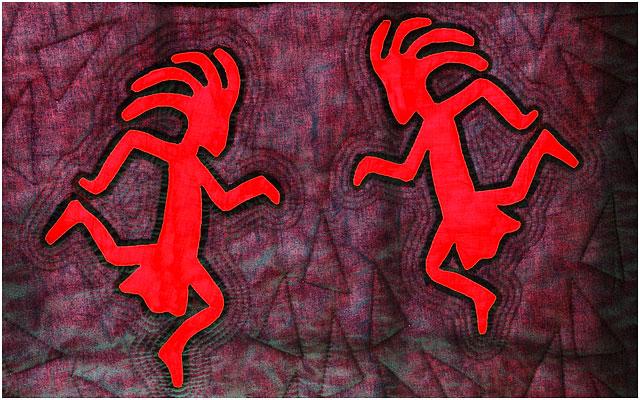 Backlit Quilted Kokopelli Figures