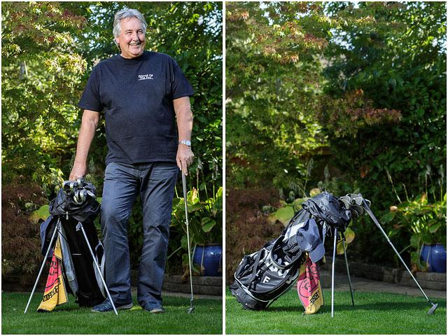 Golf Bag Man Standing Blue Trousers Dappled Shade Black T-shirt Foliage Background