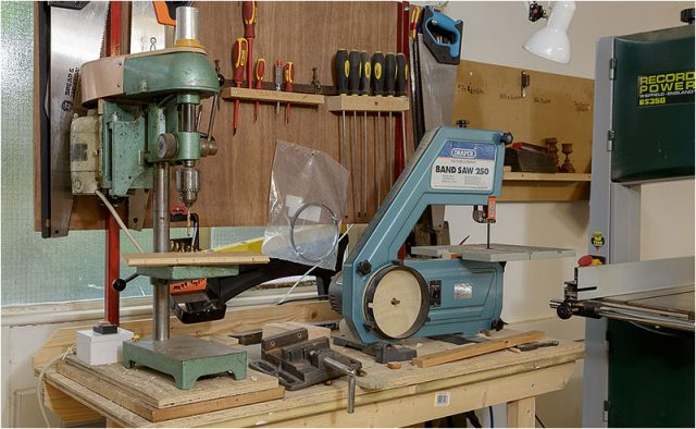 Two of the many electric woodworking machines in the shed