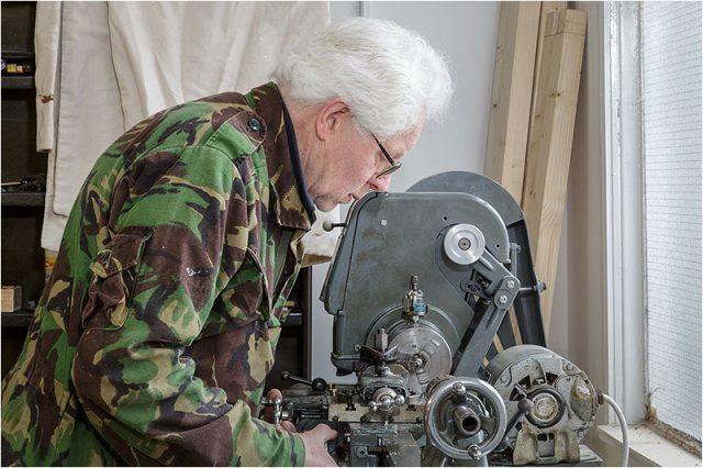 Nick Mooney working on the Metal Lathe