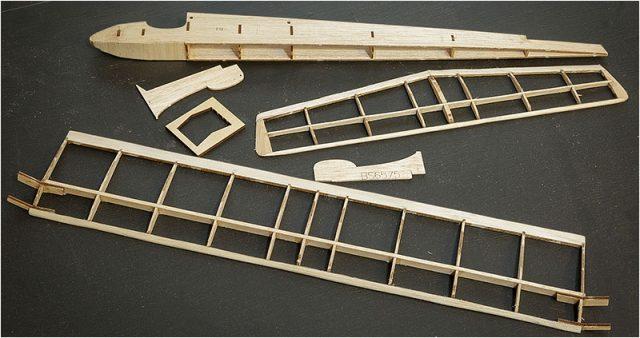 Parts of a balsa wood model plane