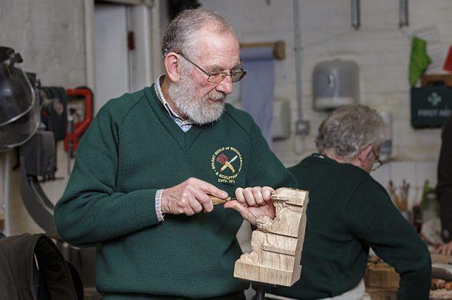 solent woodcarvers guild member at work