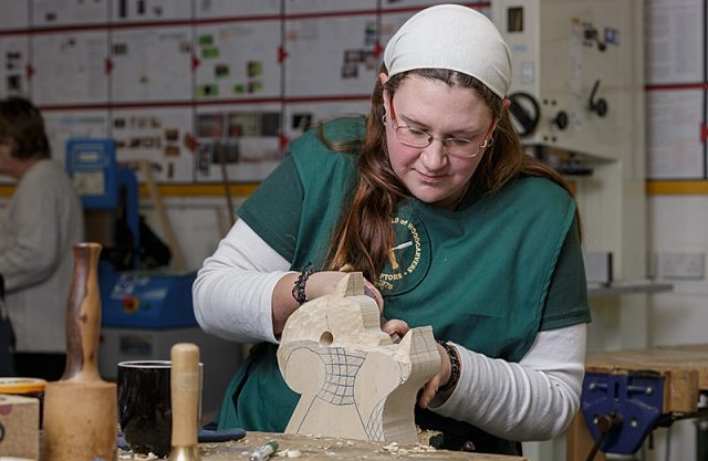 ros palmer with current work in progress carving