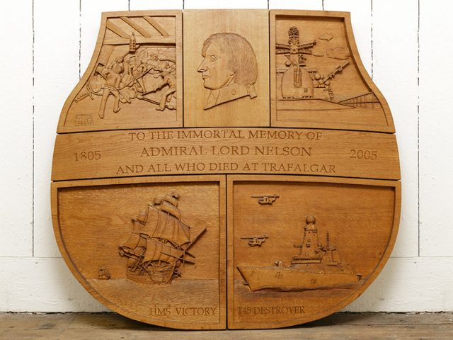 Bicentenary of Trafalgar shield wood carving by the solent guild of woodcarvers and sculptors