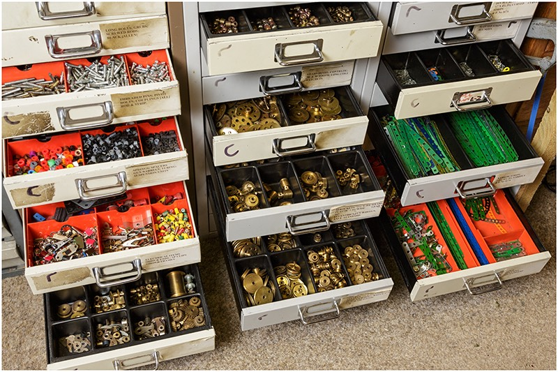 Filing cabinets utilised as storage for various Meccano parts