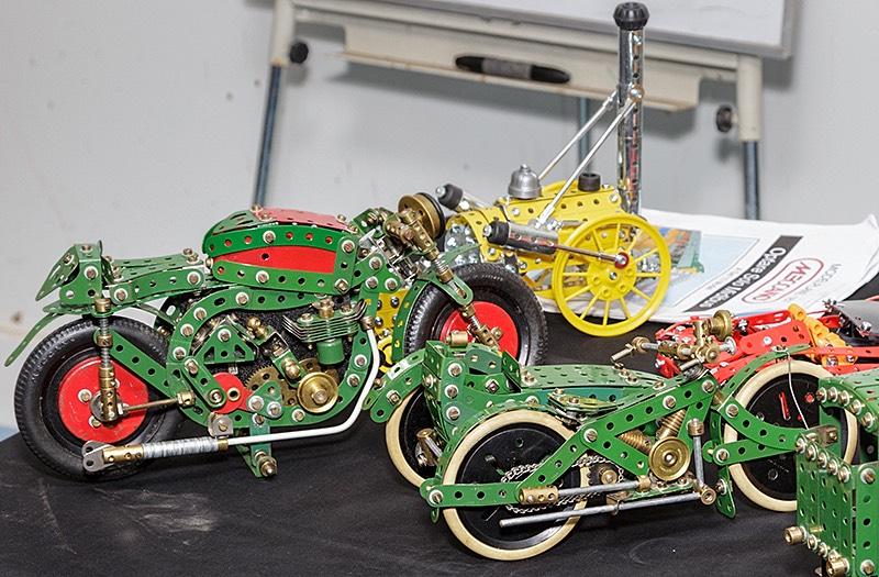 Two model Meccano motorbikes by Bob Palmer