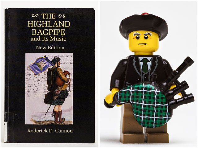 Book of bagpipe music with Lego bagpiper
