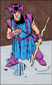 Hawkeye so poor, when he fight Arcade, he check the coin return.