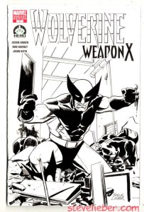 Wolverine sketch, drawn in india ink on a blank-cover variant edition of Wolverine:Weapon X.