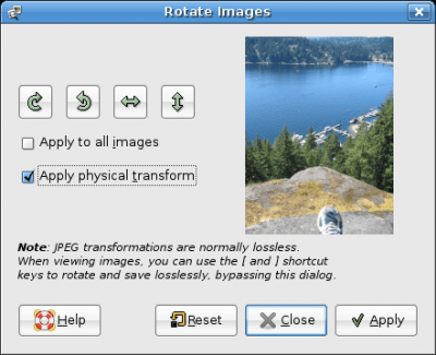GThumb's Rotate Images Tool