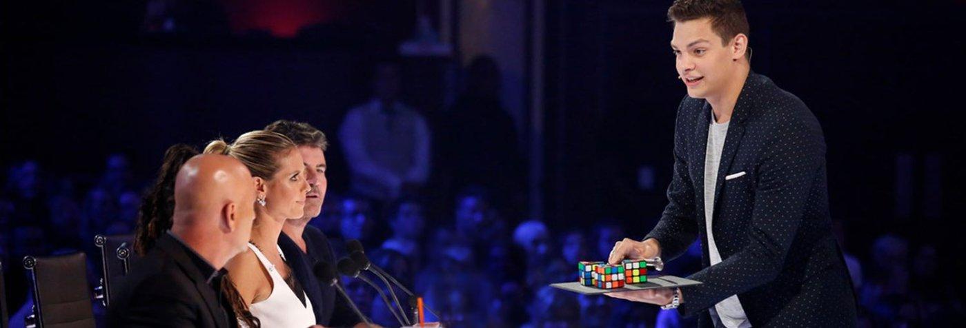 Magician Steven Brundage performing on America's Got Talent