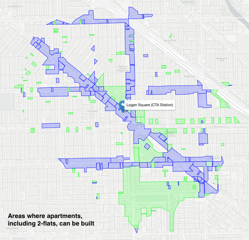 How Much Of The Land Within Walking Distance Of A CTA Station Is - Map out walking distance
