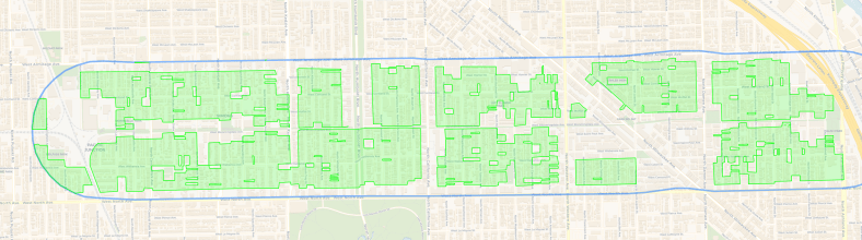Map of the single family-only zoning around the Bloomingdale Trail