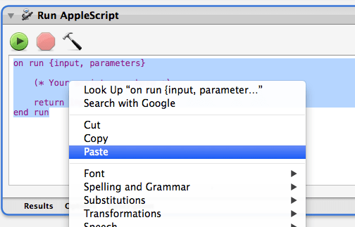 Paste AppleScript into Automator