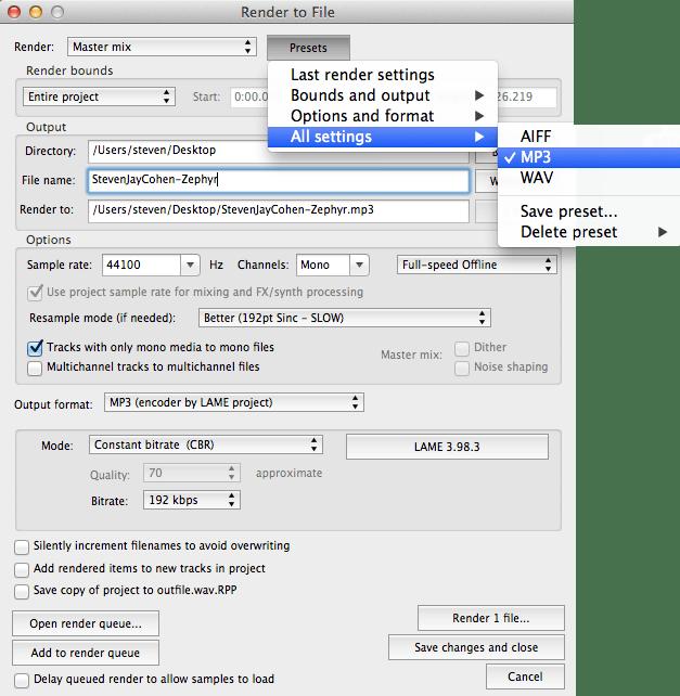 reaper mp3 render problem