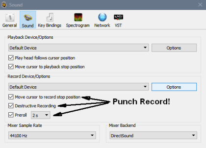 Ocenaudio Punch Record Settings