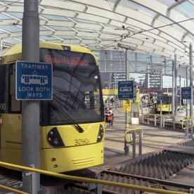 A busy scene at Manchester Victoria Tram Stop