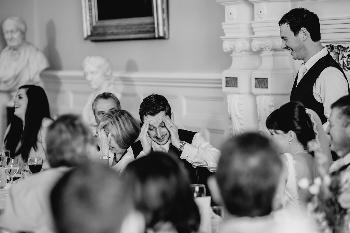 reaction of the groom at the best man's speech
