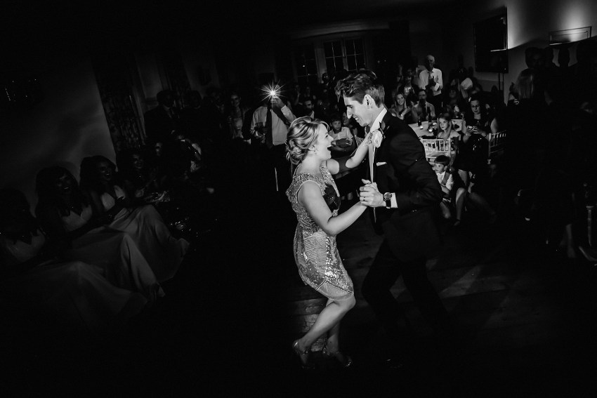 dancing on the dancefloor at the boconnock house wedding in cornwall