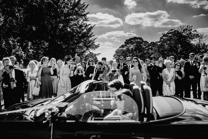 driving off in the wedding car